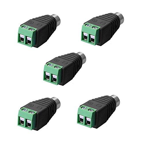 SIENOC Adapter Terminalblock > Cinch Buchse RCA Adapter DC Block Schraubanschluss 2-Pin (5 Stück