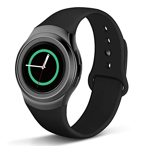 Compatible Gear S2 Band, NAHAI Soft Silicone Straps Sport Bands Adjustable Replacement Wristband Watch Bracelet for Samsung Gear S2 Smartwatch, Large, Black with Black Button