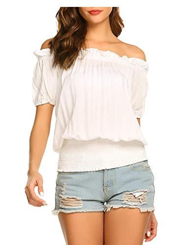 ELESOL Short Sleeve Blouses for Women Off Shoulder Tops Smocked Elastic Boho Blouse White XXL