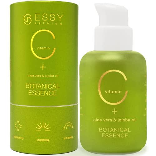 Serum Vitamina C con Acido Hialuronico Crema Antiedad Vitamina C Facial Crema Antiarrugas Mujer Crema para Manchas en la Cara Vitamina E Aloe Vera Jojoba Oil