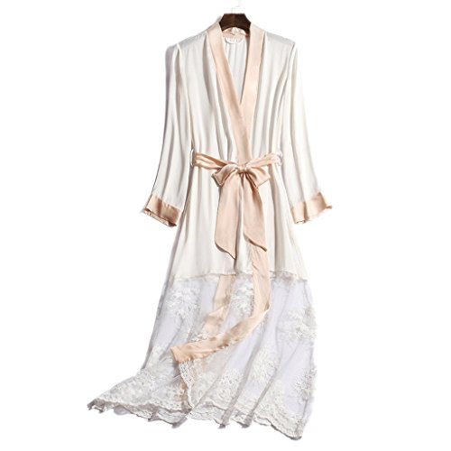 Bademäntel GAOLILI Sommer-Dame Long Sleeve Sleep Robe Sexy EIS Seide Lace Pyjamas Long Home Kleidung (Farbe : Bunte, größe : M)