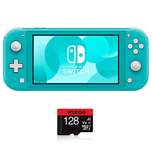 Nintendo 2020 Switch Lite Console Family Christmas Holiday Bundle - Turquoise, 5.5' Touchscreen Display, Built-in Plus Control Pad, Speakers, WiFi, Bluetooth 4.1, NexiGo 128GB MicroSD Card Bundle