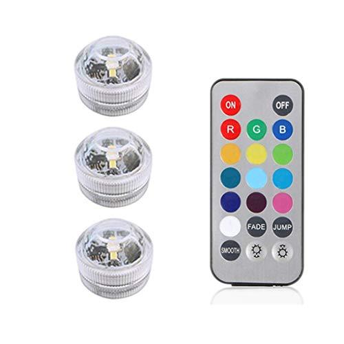 LED Lichter wasserdichtes RGB tauchbares Unterwasserlicht für helles heißes Wannen-Teich-Pool-Badewanne-Aquarium-Partei-Vase Decor-LQCN, 3 Lampe 1 Prüfer, 3 * 2.2CM