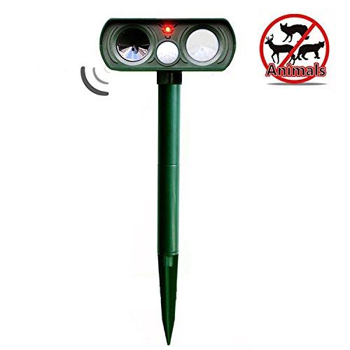 Pest Repeller, Outdoor Solar Powered and Weatherproof Ultrasonic Dog/Cat/Mosquito Repellent
