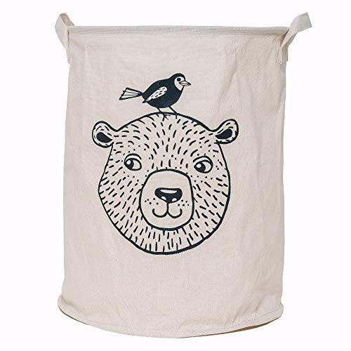 Lifestyle Lover Cesto plegable de tela de algodón para ropa sucia, juguetes, cesta de almacenamiento, organizador de oso