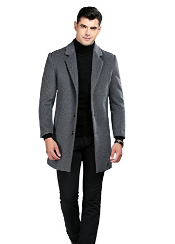 Icegrey wol mantel met single blosted business overtrekker wintermantel slim fit slank lange windbreaker jassen