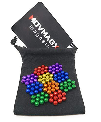 movmagx Magnetkugeln 5mm [ 100 Stück - 6 Farbenversion ] inkl. Samtbeutel & Trennkarte - Starke Magnete für Pinnwand, Magnettafel, Whiteboard, Kühlschrank