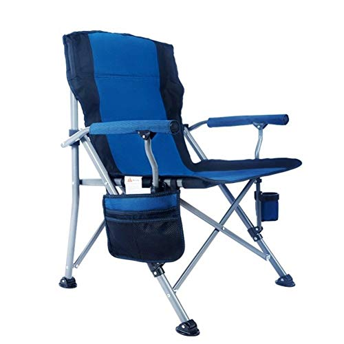 Outdoor Portable Camping Chair, Lightweight Folding Camping Chair, Heavy Duty Steel Frame, Padded Lawn Chair with Arm Rest Cup Holder and Portable Carrying Bag