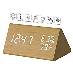 Digital Alarm Clock, Micar LED Wood Grain Alarm Clock, Large Led Display, 2 Display Modes, 2 Power Supply, 3 Brightness Levels, 3 Alarm Sets LED Light Clock with Temperature and Humidity for Bedrooms