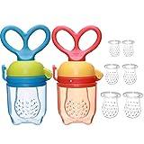 IWILCS sauger Baby, 2 Stück Fruchtsauger Baby, Schnuller Beißring, BPA frei Obstsauger Baby mit 3 Größen Sauger Ersatz für Obst(6pcs), Beikost, Baby Essen, Gemüse und Zahnungshilfe Baby