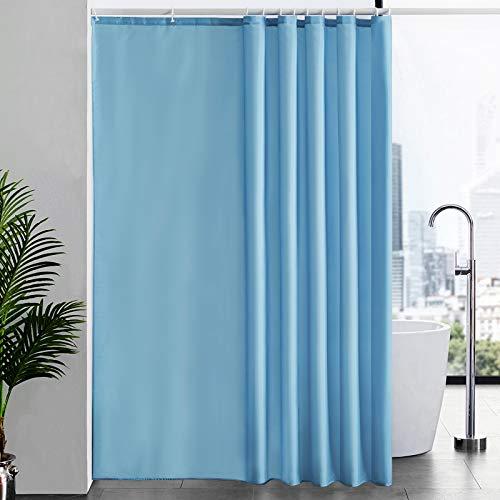 Duschvorhang Überlänge für Badezimmer, Badvorhang Anti-schimmel Textil für Badewanne, Vorhang aus Stoff Antibakteriell Waschbar, mit 12 Haken Extra Groß Hellblau 200x240cm.
