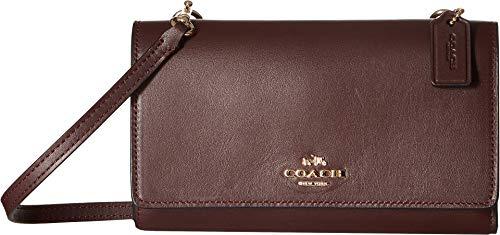 COACH Smooth Leather Phone Crossbody Li/Oxblood One Size