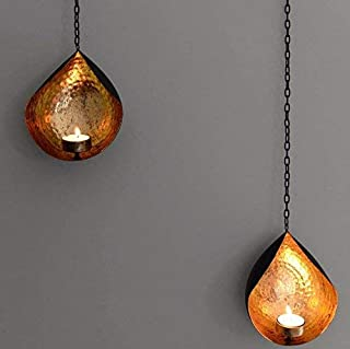 CraftVatika Set of 2 Iron Wall Hanging Accents Candle Holder Sconces | Tea Light Candle Holder for Living Room | Decor for...