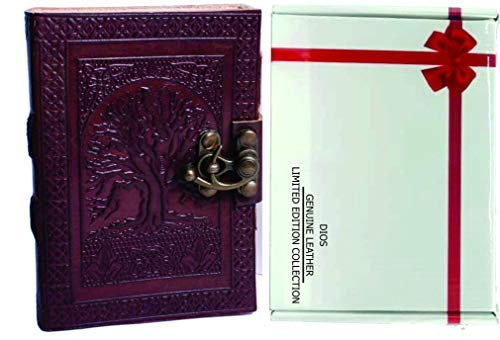 Dios Leather Journal, Dark Brown Celtic Tree of Life Antique Handmade Daily Notepad for Men & Women, Best Gift for Art Sketchbook, Travel Diary & Notebook (5 x 3.5 Inches) Free Attractive Gift Box