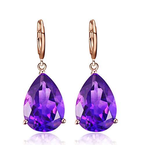 GRGFG Pendientes De Gota para Mujer,Pendientes Colgantes De Cristal Púrpura De Plata 925 Dorados Hipoalergénicos Ligeros Pendientes Colgantes De Joyería para Mujeres Niñas Fiesta Boda Regalo del Día