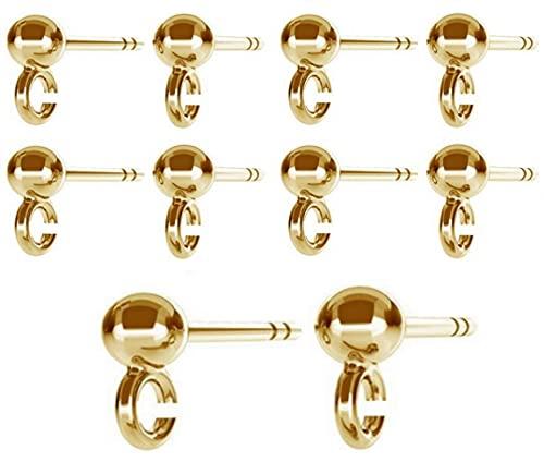 DIY925 5 pares de pendientes de bola, plata de ley 925, chapado en oro de 24 quilates, joyería en bruto, para hacer joyas