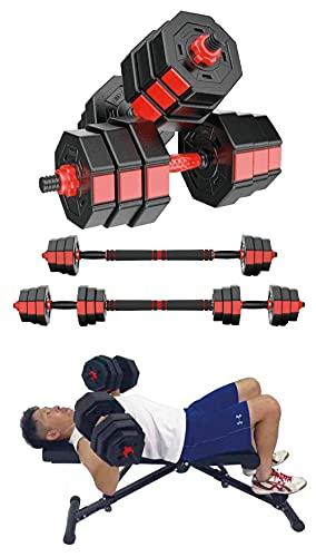 TOP FILM Octagonal dumbbell オクタゴンダンベル 可変式 バーベルにもなる ダンベル 10kg 15kg 20kg 2個セット 筋トレ 肺活量 トレーニング 器具 (15kg×2)