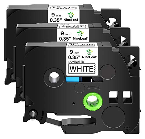 NineLeaf 3 Pack Laminated Label Tapes Compatible for Brother P-Touch TZ TZe TZ221 TZe221 9mm Black on White, 0.35 Inch (3/8 Inch) x 8m (26.2ft)