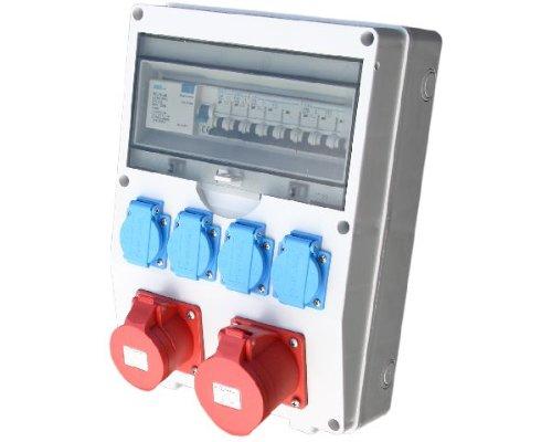 Wandverteiler CEE + 1x16A + 1x32A + 4x230V FI Stromverteiler Baustromverteiler Feuchtraumverteiler Komplett AWVT8