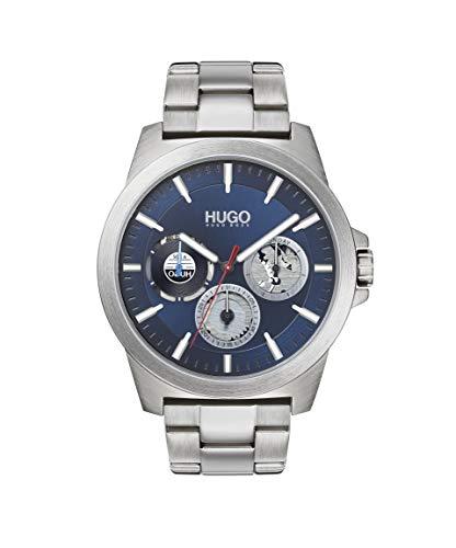 HUGO by Hugo Boss Relógio masculino de quartzo #Twist com pulseira de aço inoxidável, prata, 22 (modelo: 1530131)