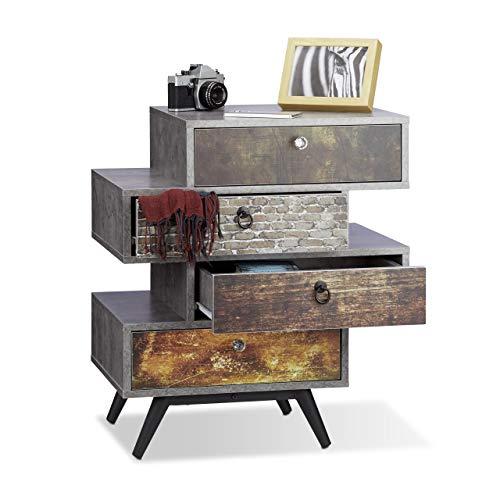 Relaxdays Vintage commode 4 laden, origineel lowboard in betonlook, lade met motief, HBT: 68x60x40 cm, grijs
