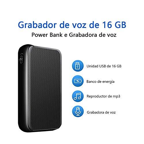 Grabadora de Voz de 6500 mAh Para 41 Días de Grabación, Grabadora 4 en 1 de 16 GB con Activación Por Voz y Dispositivo de Carga Portátil, MP3, USB