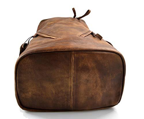 41uPRZI5CSL - Mochila de piel vintage mochila piel lavada mochila marrón hombre mujer mochila viaje mochila de cuero mochila sport…