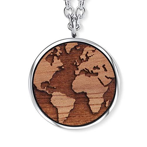 Wooden Earth Pendant mit Kristallen von Swarovski®