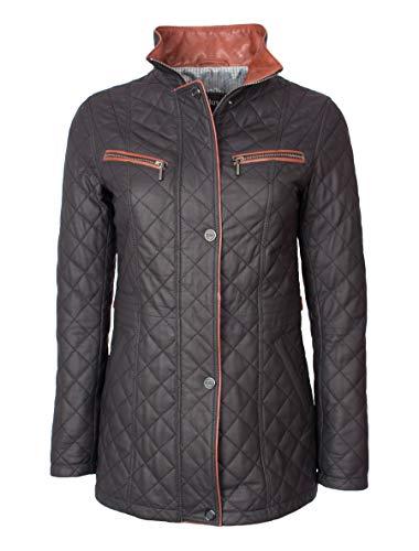 Lange und Elegante Damen Lederjacke mit feiner Steppung - Juna in schwarz braun (46, Schwarz Braun)