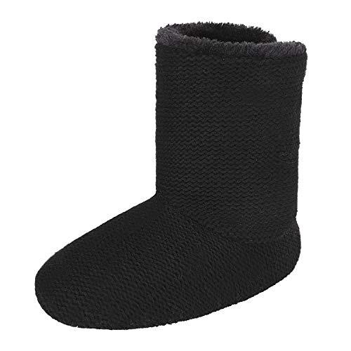 JINTN Warm Hausschuhe Hohe Hüttenschuhe Soft Stiefel Winterhausschuhe Indoor Outdoor Slipper Pantoffeln für Herbst und Winter, Schwarz, 40/41 EU