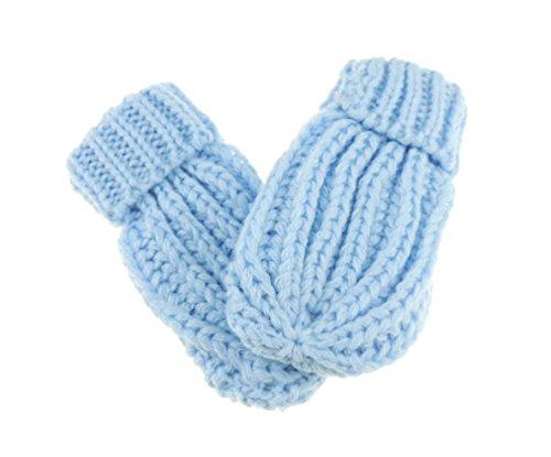 Glamour Girlz Moufles chaudes d'hiver en tricot épais pour bébé fille et garçon Bleu