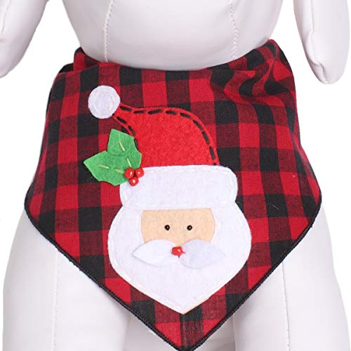 Tail Trends Christmas Dog Bandanas Santa Clause Designer Appliques fits Medium to Large Sized Dogs - 100% Cotton