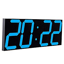 CHKOSDA Remote Control Jumbo Digital Led Wall Clock, Multifunction Led Clock, Large Calendar, Minute Alarm Clock, Countdown Led Clock, Big Thermometer, Mute Clock (Ice Blue)