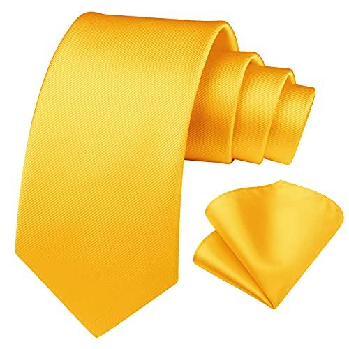 Enlision Conjunto de corbata cuadrada y bolsillo en color oro solido para hombres