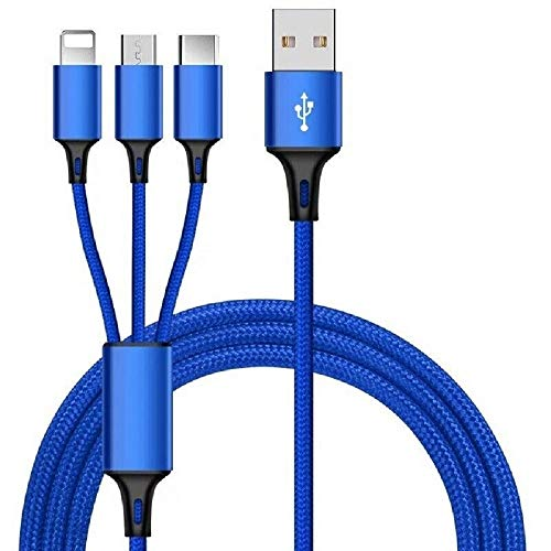 Cable de datos de carga rápida para teléfono con puerto USB 3 en 1 (azul)