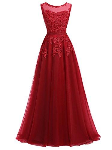 Ever Love A-Linie Lang Spitze T¨¹ll R¨¹ckenfrei Abendkleid Ballkleid Hochzeit Brautjungfernkleid mit Träger-Farbe: Dunkelrot, Gr. 38