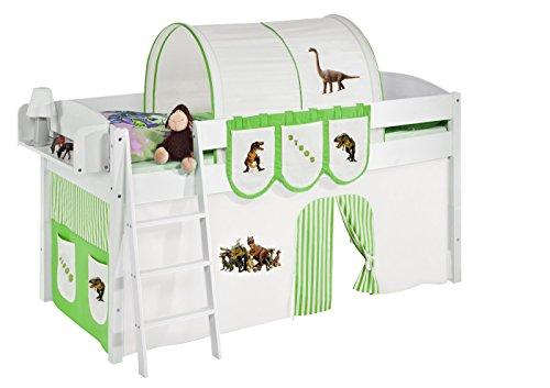 Lilokids Spielbett IDA 4105 Dinos Grün Beige - Teilbares Systemhochbett weiß - mit Vorhang