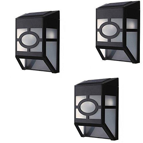 Lote de 3 Lámparas solares de 1LED, Cree ultrabrillante, de Polipropileno, con Tratamiento antirrayos UV, múltiples Lados, con Gancho de Pared, Calidad ++
