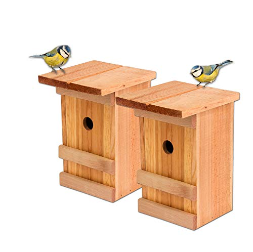Nistkästen 2x Meisennistkasten Vogelhaus Meisen Vogelhäußchen Massivholz Vogelhaus 25,5 x 16 x 17 cm Einflugloch 28mm Nistkasten