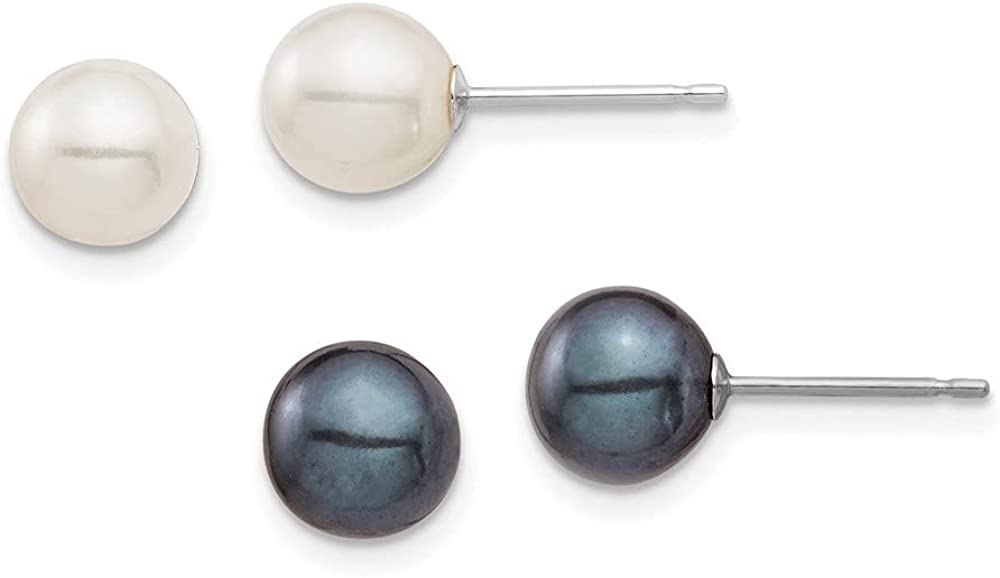14K White Gold 6-7mm Round White and Black FWC Pearl 2 Earrings Set