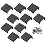 LC LICTOP 35mm/1.37' Flat Black Aluminum Finger Edge Pull Concealed Handle for Home Kitchen Door Drawer Cabinet 10PCS