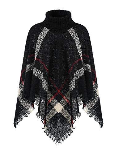 Ferand Warmer Weicher Karierter Damen Poncho-Pullover mit Kapuze oder Rollkragen, Rollkragen Version: Schwarz, Einheitsgröße (Beste Passform S-L)