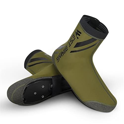 ZBXZM Cubierta de zapato de ciclismo, protector de sobrecalzado, MTB Road Bike Riding Boot Cover, térmica, impermeable, reflectante, verde, M