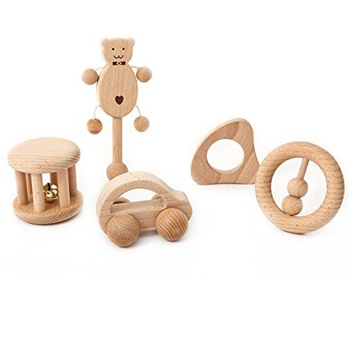 Coskiss Juguetes para rompecabezas Desarrollo intelectual de los niños Montessori juguetes Set Enfermería de dientes de madera de sonajeros Baby divertido e interesante juguete (niña)