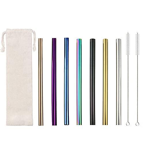 Pajitas de Metal Reutilizables Pajitas de Acero Inoxidable Extra Anchas 7 Pajitas de Boba con 2 Cepillos para Batidos té de Burbujas 215X12mm Multicolor