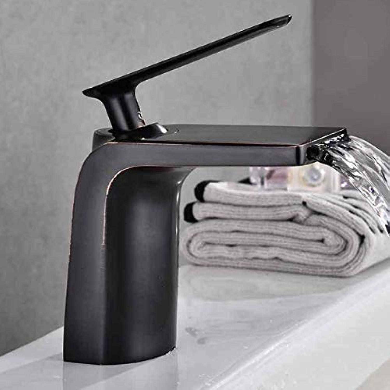 Wasserhahn Becken Wasserhahn Schwarz Kalten Und Heien Wasserfall Bad Hohlform Badarmaturen Einzigen Handgriff Wasserhahn Mischbatterie