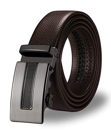 ITIEZY Herren Gürtel Ratsche Automatik Gürtel für Männer 35mm Breit Ledergürtel, T-braun 1, Länge: Bis zu 49,21 Inches (125cm)