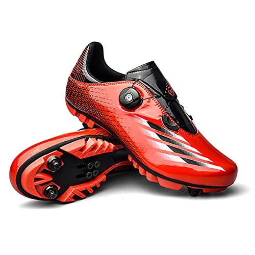 GSYNXYYA Zapatillas de Ciclismo, Zapatos de Bicicleta para Hombre de TPU Ligera, TPU, Zapatos de Bloques MTB Transpirables, sin Bloqueo Transpirables, Antideslizante (37-46EU),Rojo,37 EU