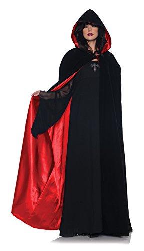 Kapuzencape schwarz-rot - 160 cm - Umhang
