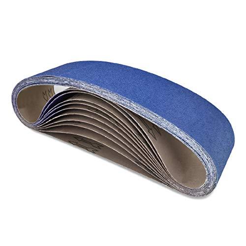 POWERTEC 443620Z 4 x 36-Inch Metal Grinding Zirconia Sanding Belts, Assorted 3 Each of 24/60/ 120 Grits, 9 PK